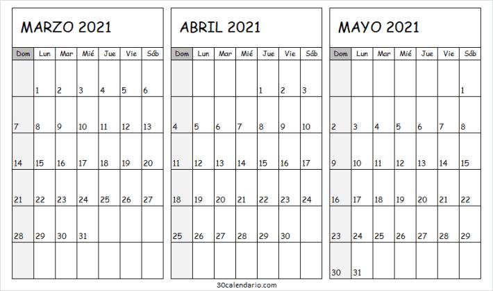 2021 Calendario Marzo a Mayo