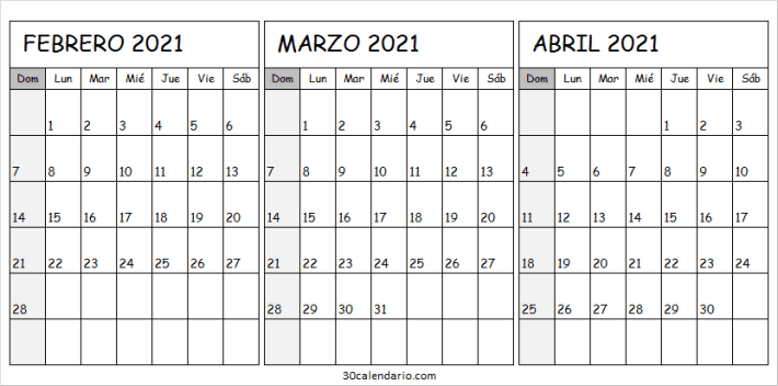 2021 Febrero a Abril Calendario Imprimir