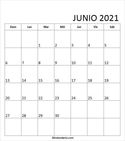 2021 Junio Calendario Imprimir