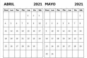 Abril Mayo Calendario 2021