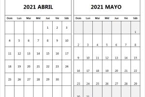 Calendario Abril Mayo 2021 En Word