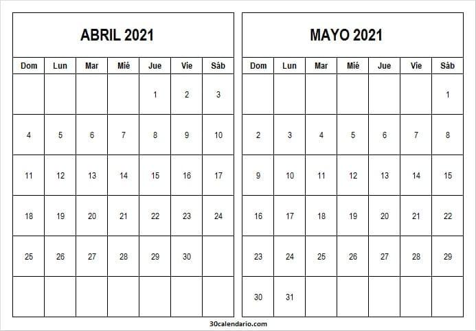 Calendario Abril Mayo 2021 Word