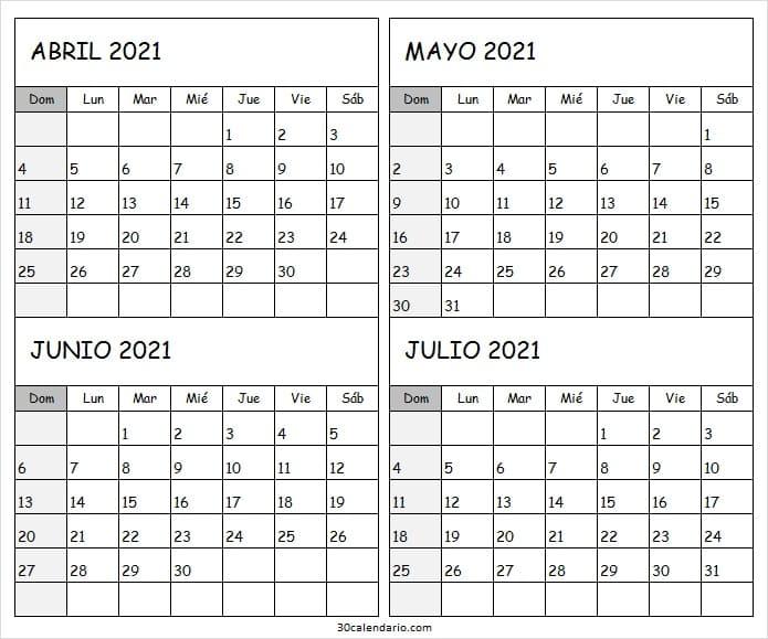 Calendario Abril a Julio 2021 Descargar