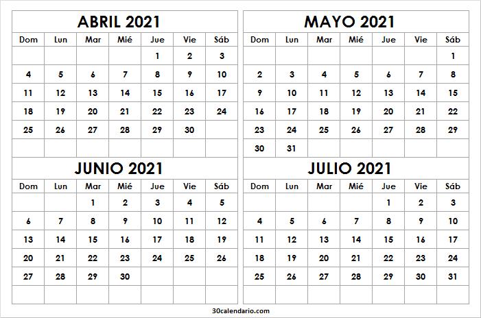 Calendario Abril a Julio 2021 Para Colorear