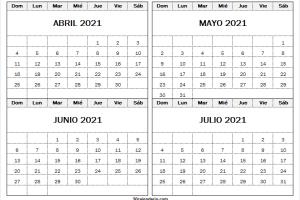 Calendario Abril a Julio 2021 Para Editar