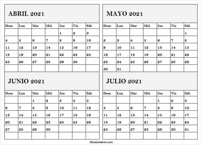 Calendario Abril a Julio 2021 Tumblr