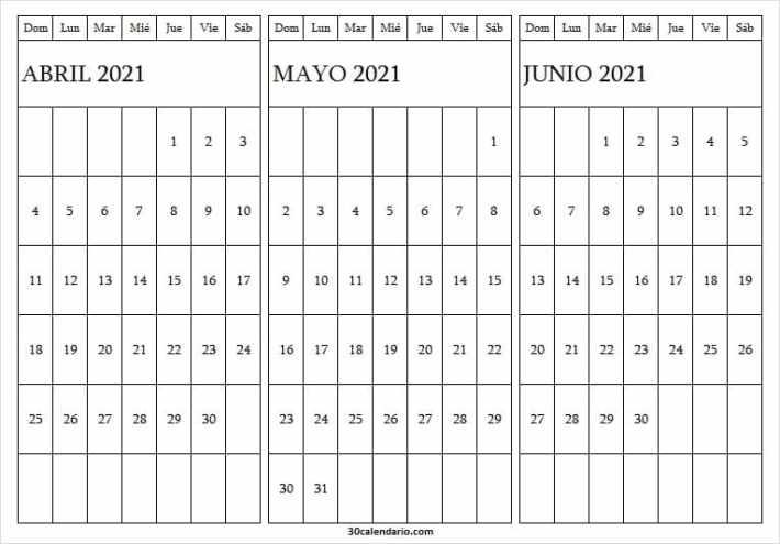Calendario Abril a Junio 2021 Bonito