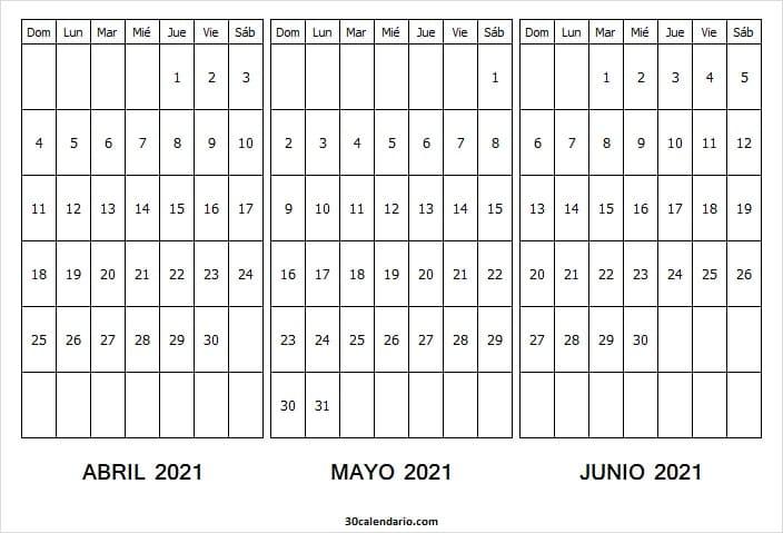 Calendario Abril a Junio 2021 Colombia