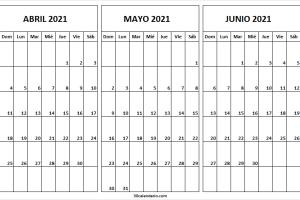 Calendario Abril a Junio 2021 Con Feriados