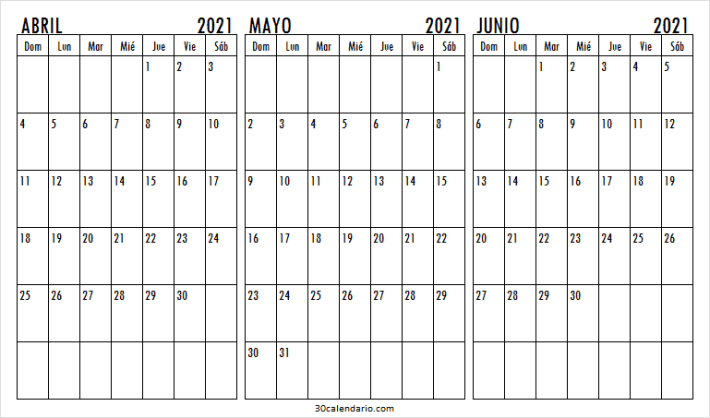 Calendario Abril a Junio 2021 Para Imprimir