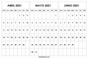 Calendario Abril a Junio 2021 Para Imprimir