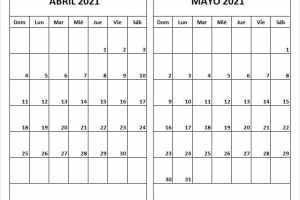 Calendario Bomberos Abril Mayo 2021