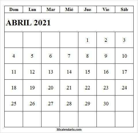 Calendario De Abril De 2021 Infantil