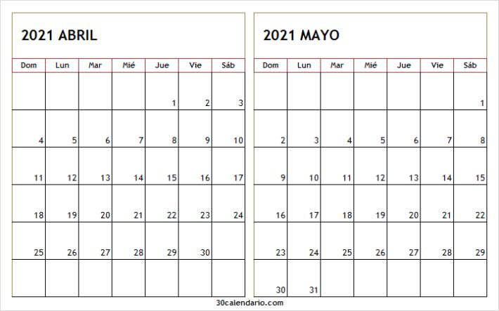 Calendario De Abril Mayo 2021