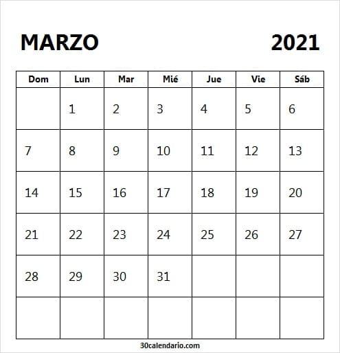 Calendario De Marzo 2021 Para Imprimir