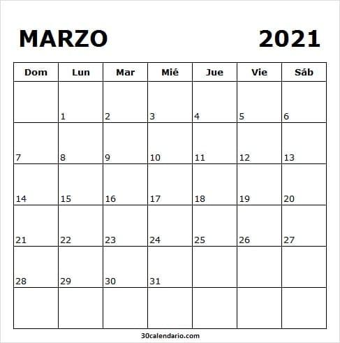 Calendario De Marzo 2021