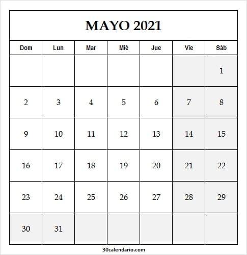 Calendario De Mayo De 2021 Para Completar