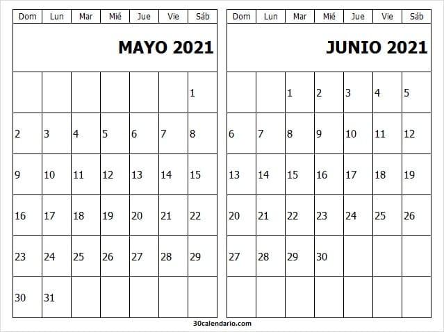 Calendario De Mayo Junio De 2021 Para Completar