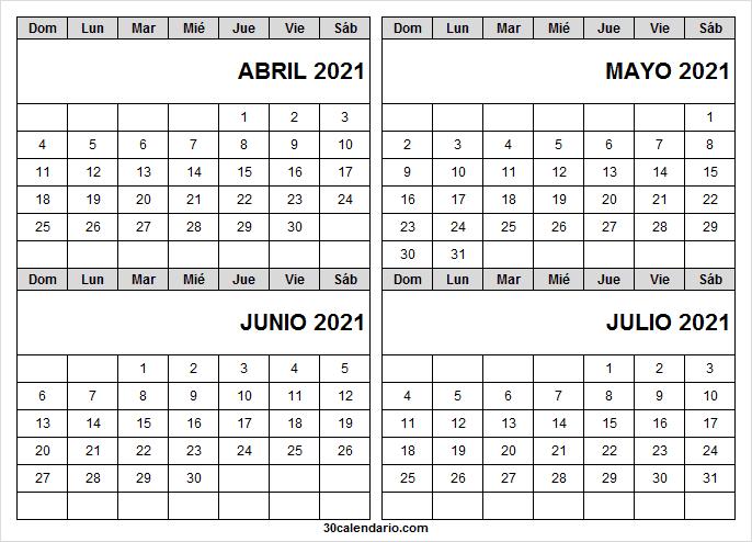 Calendario De Santos Abril a Julio 2021