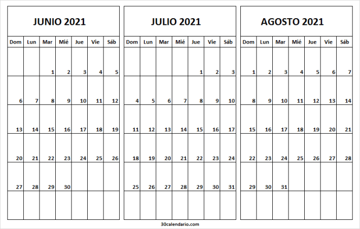 Calendario En Blanco Junio a Agosto 2021 Word