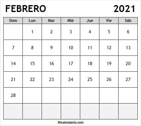 Calendario Febrero 2021 Para Escribir