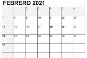 Calendario Febrero 2021 Para Imprimir Gratis
