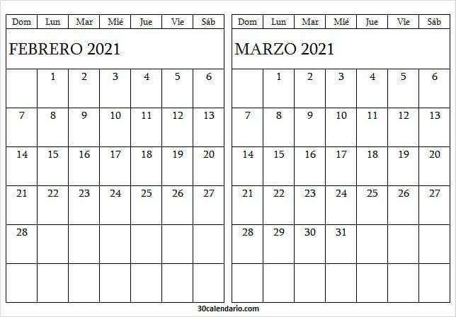 Calendario Febrero Marzo 2021 Blanco