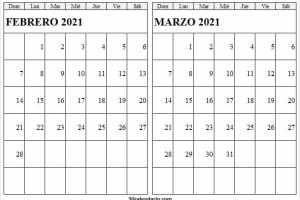 Calendario Febrero Marzo 2021 Escolar