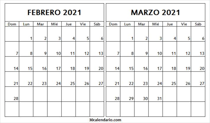 Calendario Febrero Marzo 2021 Gratis