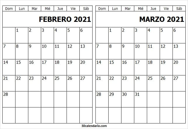 Calendario Febrero Marzo 2021 Para Imprimir