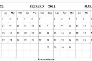 Calendario Febrero Marzo 2021