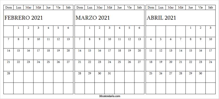 Calendario Febrero a Abril 2021 Excel