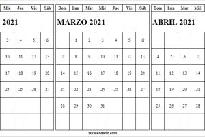 Calendario Febrero a Abril 2021 Imágenes