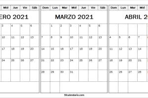 Calendario Febrero a Abril 2021 Ingles