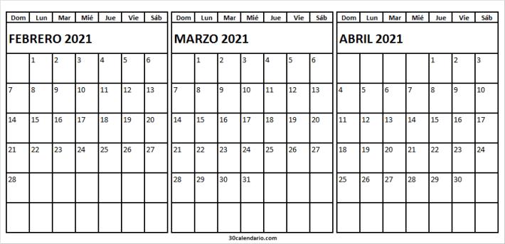 Calendario Febrero a Abril 2021 PNG