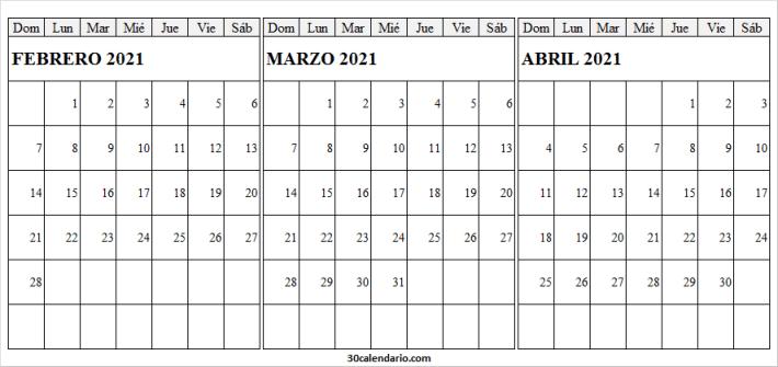 Calendario Febrero a Abril 2021 Para Imprimir Pdf