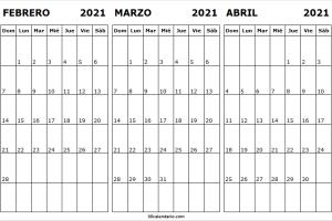 Calendario Febrero a Abril 2021