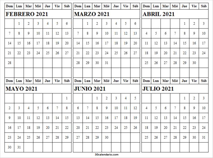 Calendario Febrero a Julio 2021 Para Imprimir