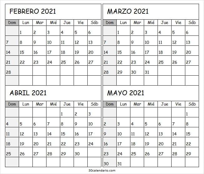 Calendario Febrero a Mayo 2021 En Excel