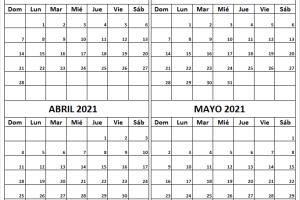 Calendario Febrero a Mayo 2021 Imágenes