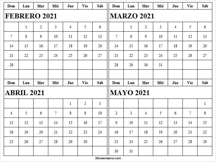 Calendario Febrero a Mayo 2021 Pdf