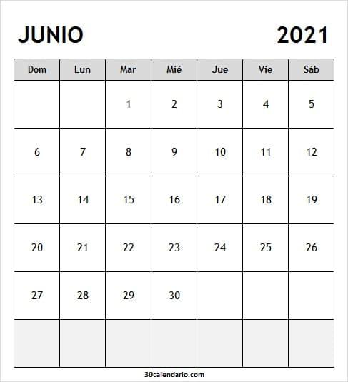 Calendario Junio 2021 Para Imprimir Gratis