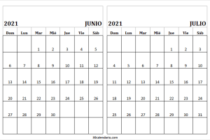 Calendario Junio Julio 2021 En Excel