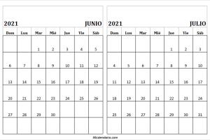 Calendario Junio Julio 2021 En Excel