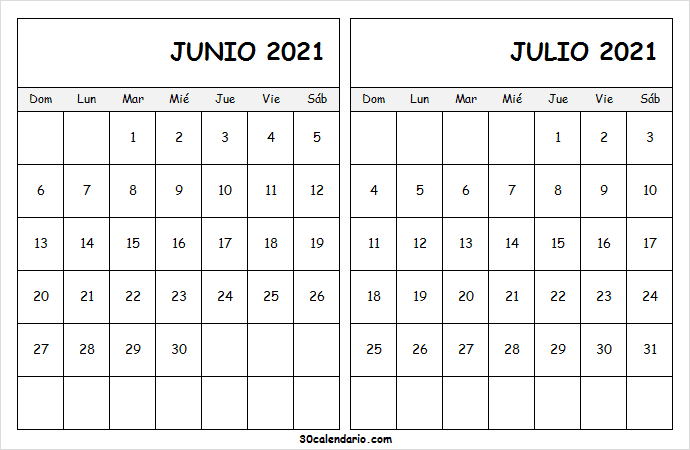Calendario Junio Julio 2021 En Word