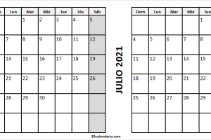 Calendario Junio Julio 2021 España