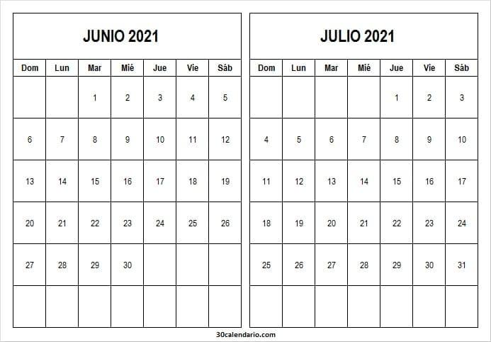 Calendario Junio Julio 2021 Para Imprimir