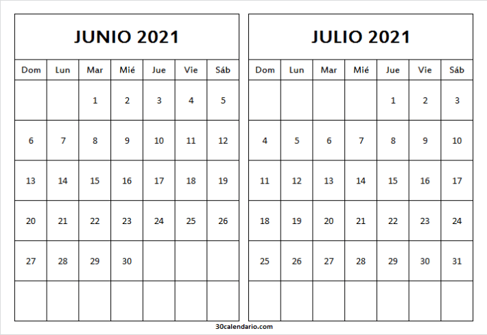 Calendario Junio Julio 2021 Png