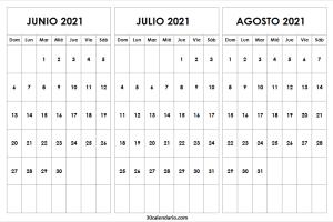 Calendario Junio a Agosto 2021 Chile