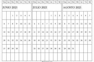 Calendario Junio a Agosto 2021 Con Feriados